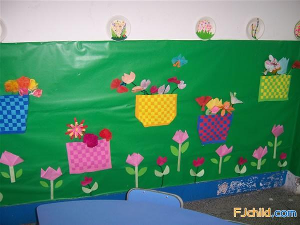 花儿朵朵主题墙饰_小班段3月份主体墙花儿朵朵