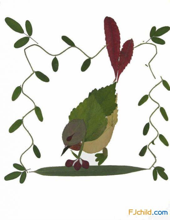 树叶贴画作品语言