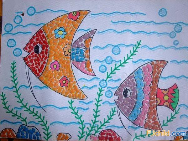 手工教程图解:海底世界蛋壳画图案