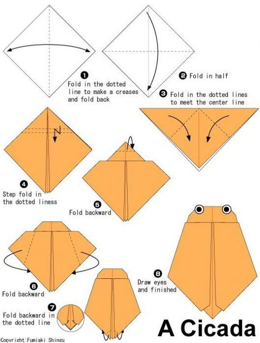 知了折纸步骤图_幼儿园手工知了折纸步骤